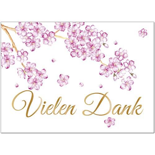 15 x Dankeskarten mit Umschlag - Kirschblüte Apfelblüte rosa schön edel - Danksagungskarten, Danke sagen, nach Hochzeit, Geburt, Baby, Taufe, Geburtstag, Kommunion, Konfirmation, Jugendweihe