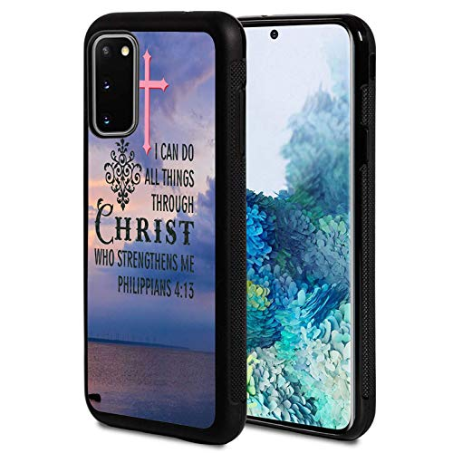 Galaxy S20 FE 5G Case,Christian Bible Verses Philippians 4:13 Design Shockproof Slim Anti-Scratch TPU Rubber Protective Case Cover Compatible with Samsung Galaxy S20 FE 5G