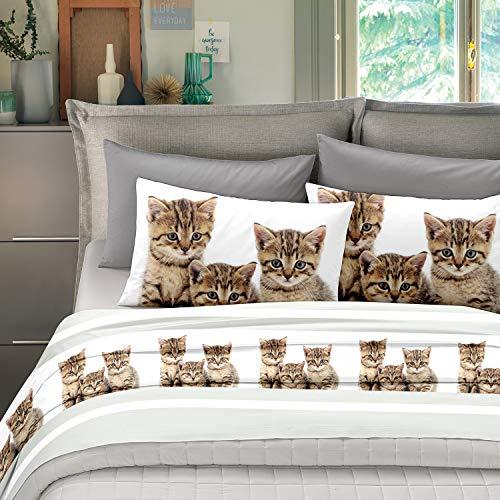NuvolaNera Set completo lenzuola stampate in cotone 100% – per materassi fino a 25 cm. – 1 Piazza Singolo - Gatto