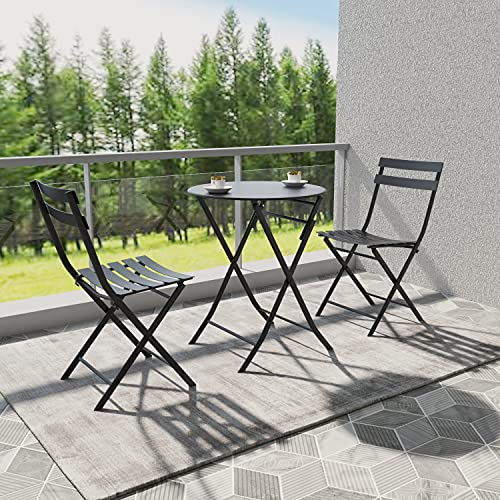 Joolihome Garden Furniture 2 Seater, Folding Metal Round Table and Chairs, 3 PCS Indoor Outdoor Conversation Set for Patio, Backyard, Balcony, Porch, Lawn, Poolside, Cafes, Bistro, Courtyard (Black)