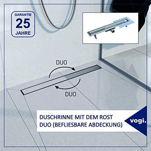 Komplett-SET Duschrinne mit dem Rost DUO aus Edelstahl (befliesbare Abdeckung) inkl. Siphon mit Geruchsstop, 25 Jahre Garantie, Maße von 50 bis 100cm wählbar