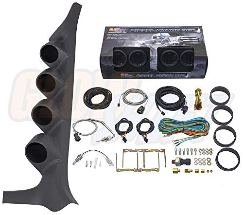 GlowShift Diesel Gauge Package for 1992-1997 Ford F-Series F-250 F-350 - Tinted 7 Color 60 PSI Boost, 1500 F Pyrometer EGT, Transmission Temp & 100 PSI Fuel Pressure Gauges - Gray Quad Pillar Pod