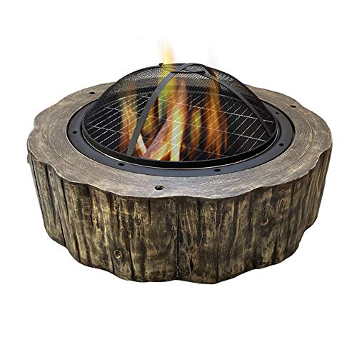 DTLEO Round Large Fire Pit with Grill, 3-in-1 Outdoor Garden Terrace Heater Brazier, for Outside Garden Patio Backyard, 75cm Diameter