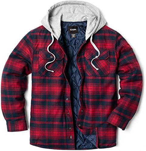 CQR Chaqueta de franela con capucha para hombre, acolchada, con forro Hok720 - Pack de 1, color rojo y azul marino M