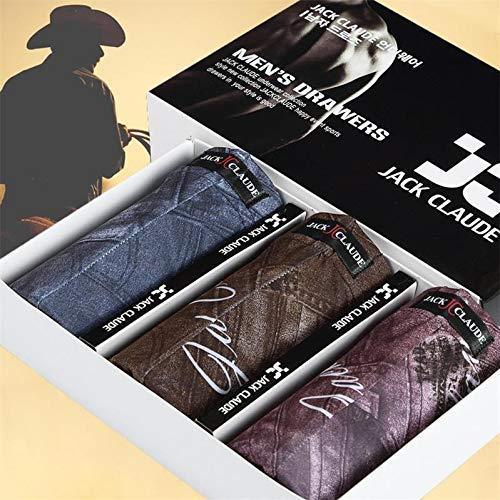 3 Unids / Lote Jack Claude Ropa Interior Masculina Hombres Boxer Shorts Calzoncillos Suaves Y Sexy For Hombre Bragas Hielo Seda Cuecas Boxer Homme XXXL ( Color : Brown Blue Purple , Size : XL )