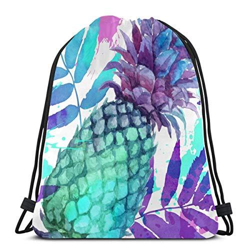 Aquarell gemalt lebendige Farben Ananas und Lea Tasche Kordelzug String Rucksack Gym Kordelzug Tasche für Gym Outdoor Travel