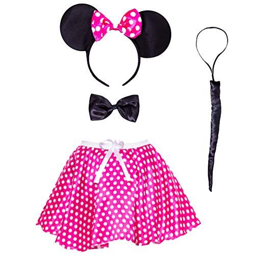 Disfraz de Minnie Mouse para adultos, diadema con orejas y tut, para mujer, color rosa