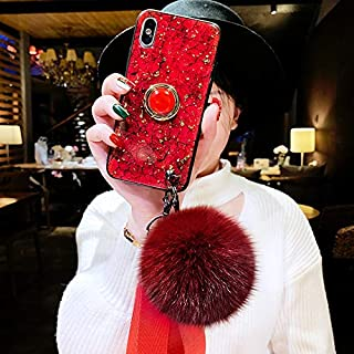 MayCase for iPhone 11 Bling Marble Kickstand Case with Fur Ball - Luxury Glitter Diamond Ring Stand Holder Case with Plush Fuzzy Ball Wrist Strap for iPhone 11 (Hairball Red)