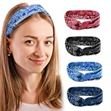 Boho Headbands for Women Vintage Floral Style Head Bands Stretchy Knotted Hairbands 4 Packs