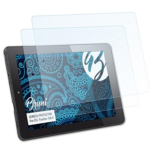 Bruni Schutzfolie kompatibel mit CSL Panther Tab 9 Folie, glasklare Bildschirmschutzfolie (2X)