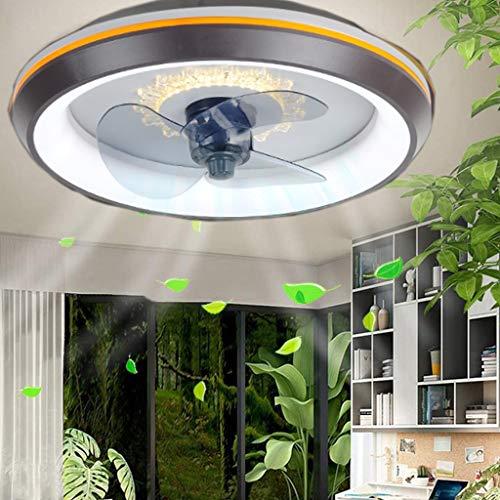 Lámpara de ventilador Led Luz de ventilador invisible Ventilador moderno ajustable Luz de techo con iluminación Dormitorio redondo Ventilador silencioso regulable