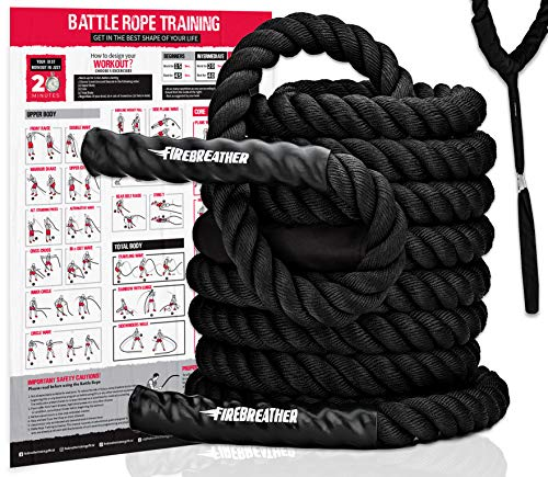 Battle Ropes with Foldable Poster and Anchor KIT. Full Body Workout Equipment for Crossfit Training, Home Gym or Fitness Exercises. Poly Dacron Heavy Battling Rope to Boost Strength