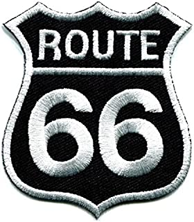 Route 66 Retro Muscle Cars 60s Americana USA Applique Iron-on Highway Road Sign Biker Emblem Patch