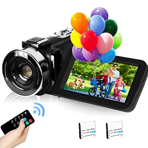 """2,7K Cámara de Video Videocámara GDV1302 Cámara de Vlogs Recargable Zoom Digital 18X FHD 42MP Videocámara de Pantalla LCD giratoria de 3"""" con 2 Baterías"""