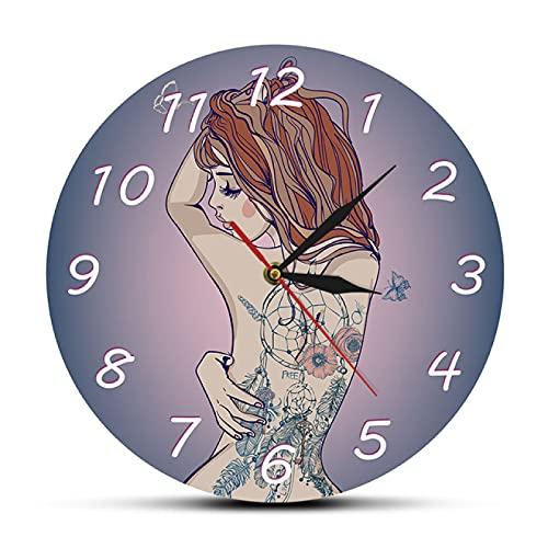 hufeng Reloj de Pared Mujer Hermosa Joven con Tatuaje Reloj de Pared Sexy Tatuajes de Cuerpo Tatted Back Silent Quartz Wall Clock Tattoo Studio Sign