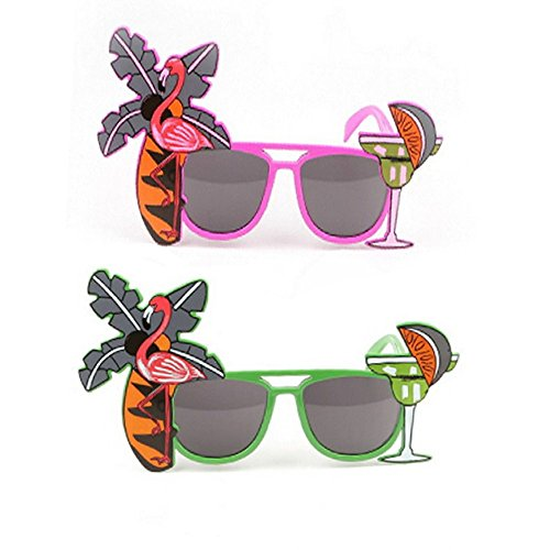 ICYANG 2 Stück Sonnenbrille Flamingo Neuheit Cocktail Fruit Hawaiian Eyewear Fancy Dress Hen Party Beach Supplies