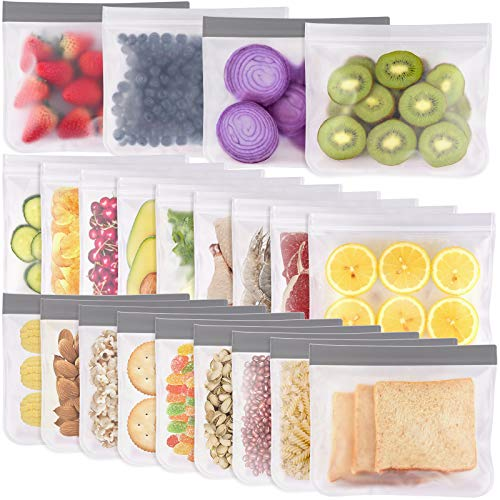 Reusable Sandwich Bags - 22 Pack Reusable Food Storage Bags, Reusable Freezer Bags, Leakproof Silicone & Plastic Free for Marinate Meats, Cereal, Sandwich, Snack, Travel Items