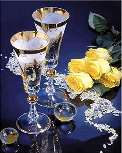 Diamant Schilderij 5D DIY Volledige Diamant Ronde Diamant Champagne Glas 40X50cm Kristal Strass Borduurwerk Cross Stitch Kunst Ambacht Thuis Muurdecoratie