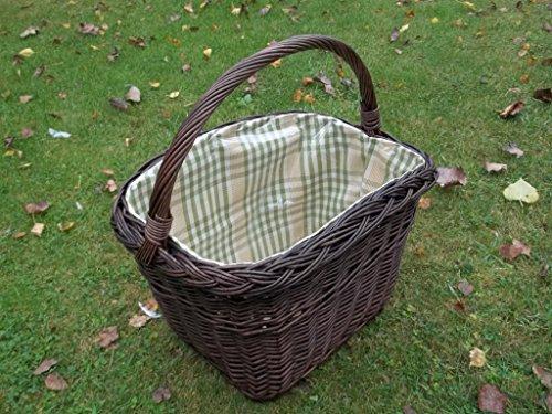 Einkaufskorb/Fahrradkorb mit Längsgriff aus Weide