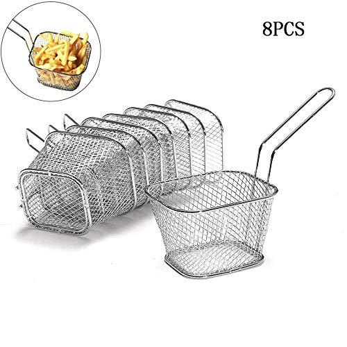 8 PCS Cestelli per Figgitrice in Acciaio INOX Presentazione di Alimenti per Servire Patatine Fritte Anelli di Cipolla Cibi Fritti