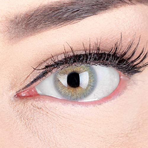 GLAMLENS lentillas de color -gris Jasmine light Grey + contenedor. 1 par (2 piezas) - 90 Días - Sin Graduación - 0.00 dioptrías - blandos - Lentes de contacto grises de hidrogel de silicona