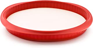 Lékué Duo Quiche Molde Desmontable, Cerámica y Silicona, Rojo, 28 cm