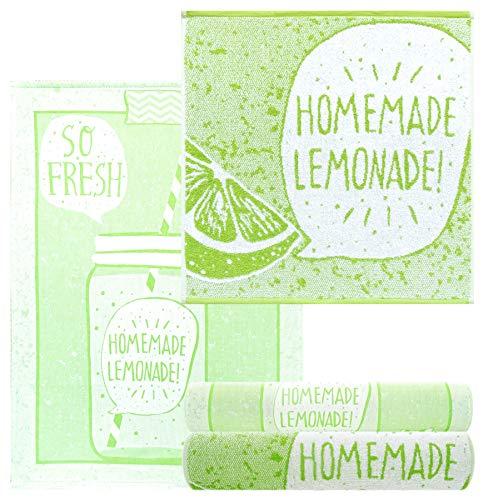 Lashuma Küchenhandtuch Set Design: Zitrone, 4 Stück Küchetücher Grün, 2X Frottee Handtuch 50x50-2X Geschirrtuch 50x70