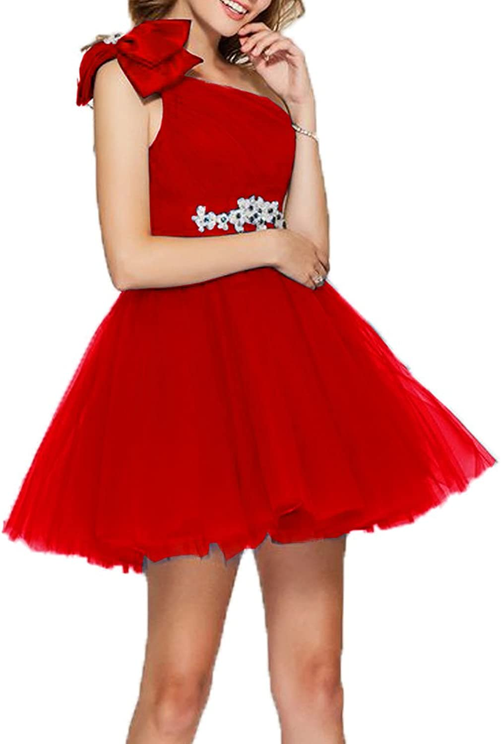 Fashionbride Womens Short Cocktail Party Dress One Shoulder with Bow Homecoming