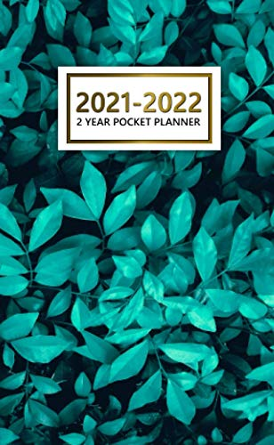 2 Year Pocket Planner 2021-2022: 24 Month Calendar Organizer Agenda with Vision Boards and Notes. Gorgeous Turquoise Leaves Pattern.