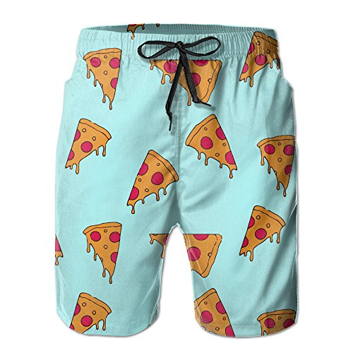 MYKJ Pizza Cartoon Pattern Summer Casual Quick-Dry Cargo Shorts Swim Trunks Drawstring Striped Side Pockets White