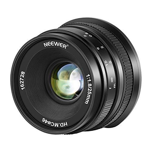 Neewer Obiettivo Grandangolare da 25 mm f/1,8 con Ampia Apertura Messa a Fuoco Manuale, Obiettivo Fisso APS-C Prime Compatibile con Fotocamere EF-M con Montatura EOS-M Canon EOS M M2 M3 M5 M6 ecc.
