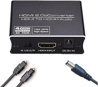 HDMI 音声分離 4K 60Hz 光デジタル HDMI音声 分離器 Toslink SPDIF + 3.5mm RCA ステレオ アナログ出力 HDMI2.0 HDCP2.2 HDR対応 サウンド分離 HDMIセレクターPS5 PS4 XBO...