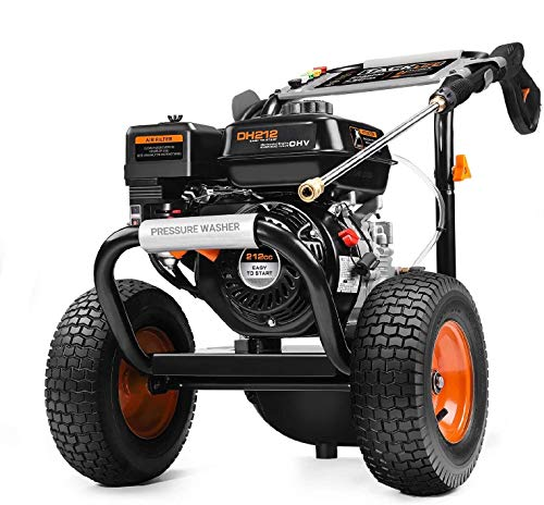Product Image of the TACKLIFE 3300 PSI Gas Pressure Washer,2.6 GPM Power Washer,212CC Gas Pressure Washer Powered,with 5 Adjustable Nozzles,30FT High-Pressure Hose,1Gal Soap Tank,for Washing Dirt Away Outdoor