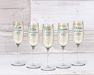 Personalised wedding champagne flutes bridal party gift ideas