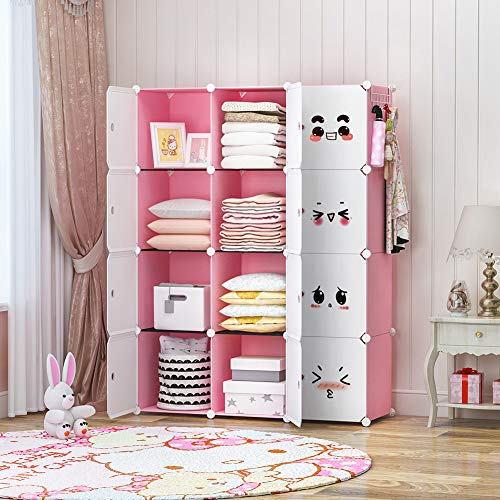 GEORGE&DANIS Portable Closet Wardrobe Kids Dresser Storage Cube Organizer for Teenagers Plastic Dresser Armoire, Pink, 14 inches Depth, 3x4 Tiers