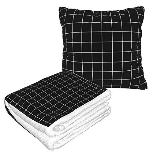 Manta de viaje y almohada premium suave 2 en 1 de avión, rejilla negra blanca con funda de almohada suave, para sofá, camping, coche, viajes