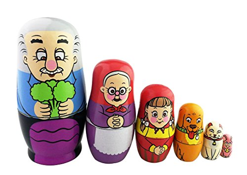 Winterworm Cute Bright Color Sweet Family Pattern Handmade Wooden Russian Nesting Dolls Matryoshka Dolls Set 6 Pieces for Kids Toy Birthday Home Kids Room Decoration