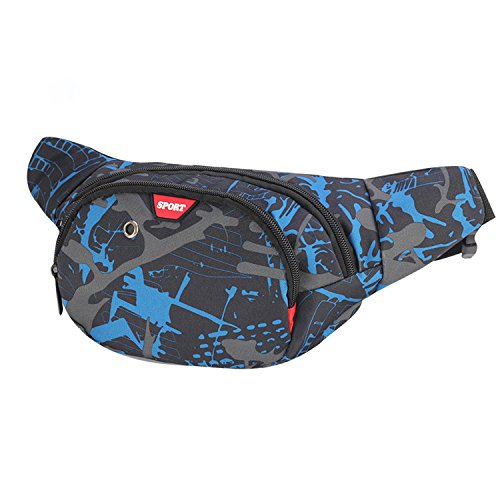 Resistente al agua riñonera bolsa de cintura 3 bolsillos con cremallera bolsa riñonera de viaje senderismo al aire libre deporte vacaciones dinero bolsa de cadera paquete (Azul)