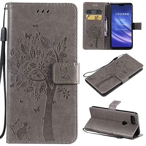 CMID Xiaomi Mi 8 Lite Hülle, PU Leder Brieftasche Handytasche Flip Bookcase Schutzhülle Cover [Ständer][Handschlaufe] für Xiaomi Mi 8 Lite (Grau)