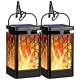 Hanging Solar Lights Outdoor New Upgraded Solar Lanterns Flickering Flame Hanging Lanterns Waterproof Solar Powered Decorative Lighting Flame Umbrella Garden Lights for Patio Deck Yard Camping(2 Pack)