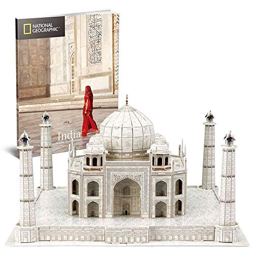 Taj Mahal 3D Puzzle, National Geographic DIY Building Model Kit 3D Jigsaw City Puzzle, Rompecabezas Educativo Para Niños, Adecuado Para Niños Mayores De 8 Años, Regalo De Cumpleaños (87 Piezas)