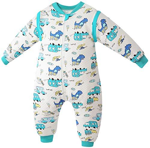 Chilsuessy Baby ganzjahres Schlafsack aus soft Baumwolle 2 Tog Schlafsäcke mit abnehmbaren Ärmeln und Füßen für Säugling Kleinkind Kinder Schlafsack mit Beinen, Blau Autos, 80/Baby Höhe 85-95cm