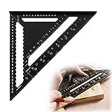 Hwtcjx escuadras metalicas carpintero, regla triangular, 1 pieza escuadra rapida, Hecho de aleación de aluminio, escala clara, resistente al desgaste, para carpintería, dibujo (negro, 12 pulgadas)