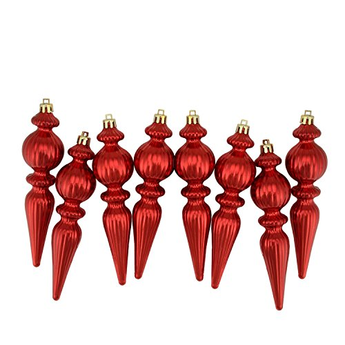 Northlight 8 Count Shiny Red Hot Ribbed Shatterproof Christmas Finial Ornaments, 6.5