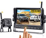 HD 1080P Wireless RV Backup Camera System with Touch Key Monitor,Support 2 Wireless Rear View Cameras Compatible with Furrion Pre-Wired RVs,Trailers,Campers,No Signal Delay LeeKooLuu LK4