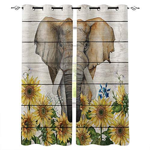 Gaepni Cortinas Aislantes Elefante 2 Unidades Opacas Cortina Térmica Visillo 100% Poliéster182Cm X 214Cm