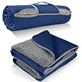 Tirrinia Waterproof Outdoor Blanket with Sherpa Lining, Windproof Triple Layers Warm Comfy Foldable for Camping Stadium, Sports, Picnic, Grass, Concerts, Pet, 51''X 59'' Navy - Machine Washable
