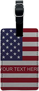 American USA Flag Personalized Custom Rectangle Leather Luggage Card ID Tag
