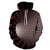 YPDWYJL Jersey geométrico Rojo túnel 3D suéter Casual Unisex suéter de otoño e Invierno