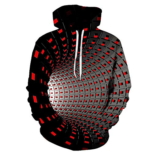 LIUSSIIS Men s Hoodie Sweatshirt Harajuku Men and Women 3D Square Black and White Check Pattern Design Vertigo Printed Hoodies Tops W2044XXL